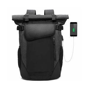 01034491ec20 pc リュック メンズ USBポート付き30L大容量15.6インチノートpc バックパック 防水 軽量 ロールトップ リュック 多機能通勤ビジネスリ