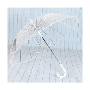 HappyGO ビニール傘 透明長傘 ジャンプ傘 厚いEVA傘布 大きい 60cm/16本強化グラスファイバー傘骨 丈夫 耐風撥水 男女兼用 滑り止 skygarden