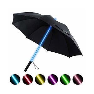 長傘 メンズ 紳士傘 光る傘 7色led照明の変化 頑丈な8本骨 耐強風 旅行傘 かっこいい 男女兼用 子供用 (黒) Bestkee skygarden