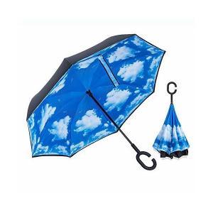 逆さ傘 ワンタッチ 逆さ 傘 車用 傘 逆転傘 逆さま傘 逆折り式傘 逆さに開く傘 逆さがさ 傘 (ブルー) skygarden