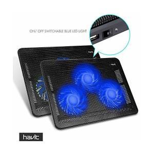 "HAVITノートパソコンPC用 冷却ファン ノートブッククーラー 3ファン15.6""-17""に対応 ブラック HV-F2056|skygarden"