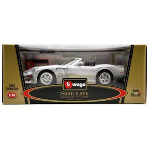 Burago 1/18 Scale Diecast 3323 Shelby Series 1 1999 Silver Red Model Car|skygarden
