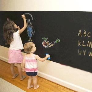 壁 に 貼って はがせる 黒板(ブラックボード)ウォール ステッカー 2M×45cm 4色 5本入 チョーク付き|skyhy