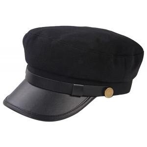 学生帽風 クラシカルハット(黒 )ワークキャップ 帽子 マリンキャップ キャップ 子供用 制帽 合皮 キャスケット ぼうし 仮装 コスプレ|skyhy