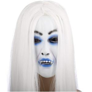 白髪魔女ホラーマスク 雪女 コスチューム用小物 コスプレ ゾンビ ホラー コスプレ お化け 衣装 仮面 ゾンビマスク   |skyhy