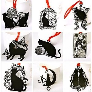 黒猫 しおり( 9枚セット)ブックマーク 黒い猫 ステンレス金属 ラッキーキャット ブックマーカー 金属 透かし彫り 猫 ネコ ねこ 母の日|skyhy