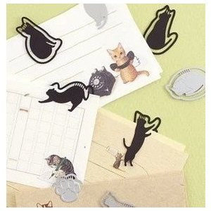 黒猫しおり8枚セット(ブラックキャット) ステンレス金属 しおり ブックマーク クリップ ブックマーカー 本 |skyhy