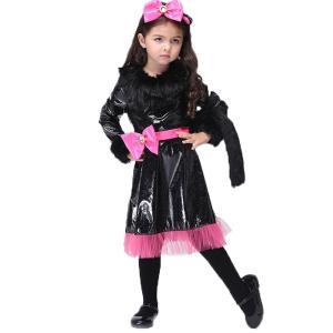 ハロウィン 衣装 子供 女の子 ドレス コスプレ 猫 衣装 小悪魔 仮装 魔女ドレス キッズ コスプレ 子ども ワンピース 角カチューシャ 手袋 3点 セット レッド M|skyhy