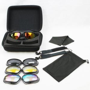 高耐衝撃 スポーツサングラス 本体と交換式レンズ4枚 ヘッドストラップ付き 手入れ用品付きのオリジナルフルセット UVカット サバゲー スポーツ 自転車 バイク|skyhy