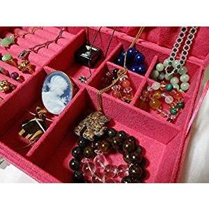ベロア調 ジュエリーボックス  アクセサリーボックス 宝石箱 (ピンク) ジュエリーケース アクセサリーケース 収納ケース|skyhy