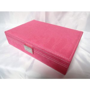 ベロア調 ジュエリーボックス  アクセサリーボックス 宝石箱 (パステルピンク) ジュエリーケース アクセサリーケース 収納ケース|skyhy