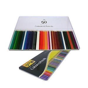 50本色えんぴつ 色鉛筆 缶ケース入り プレゼント用 50本セット かわいいアートワーク スケッチ 塗り絵|skyhy