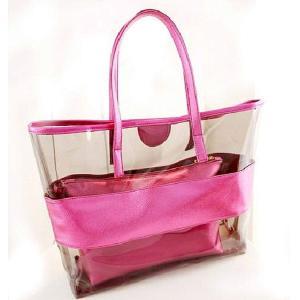 クリアバック(ピンク) トート型 メタリックカラー 夏バッグ クリア & メタリックカラー バッグインバッグ 透明 トートバック レディース 大きめ|skyhy