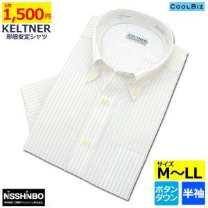 KELTNER形態安定ワイシャツ (半袖) ボタンダウン ストライプ|skyjack