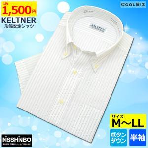 KELTNER形態安定ワイシャツ (半袖) ボタンダウン ストライプ|skyjack|02