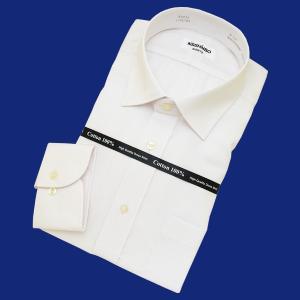 「日清紡シャツ」形態安定ワイシャツ (長袖) セミワイド 白(ツイル地) すっきりシルエット|skyjack