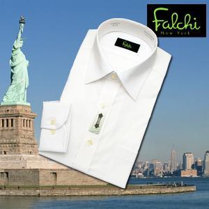 【長袖】Falchi NewYork形態安定ワイシャツ スリムタイプ 白(無地) ストレッチ素材 セミワイド|skyjack