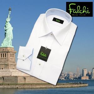 【長袖】Falchi NewYork形態安定ワイシャツ スリムタイプ 白ドビー(縦ストライプ)  セミワイド|skyjack
