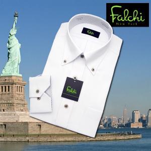 【長袖】Falchi NewYork形態安定ワイシャツ スリムタイプ 白ドビー(斜めストライプ)  ボタンダウン|skyjack