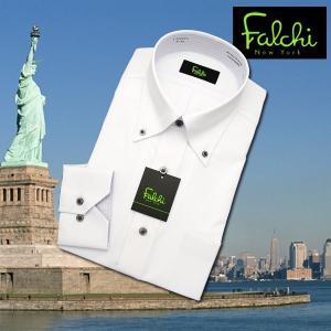 【長袖】Falchi NewYork形態安定ワイシャツ スリムタイプ 白ドビー(2)(縦ストライプ)  ボタンダウン|skyjack