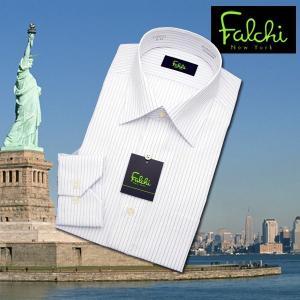 【長袖】Falchi NewYork形態安定ワイシャツ スリムタイプ ストライプ  セミワイド|skyjack