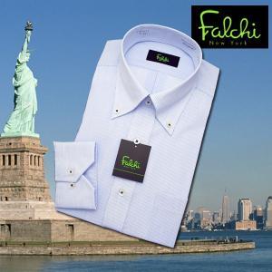 【長袖】Falchi NewYork形態安定ワイシャツ スリムタイプ ブルーストライプ  ボタンダウン|skyjack