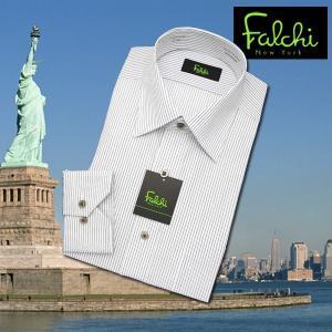 【長袖】Falchi NewYork形態安定ワイシャツ スリムタイプ ストライプ(2)  セミワイド|skyjack