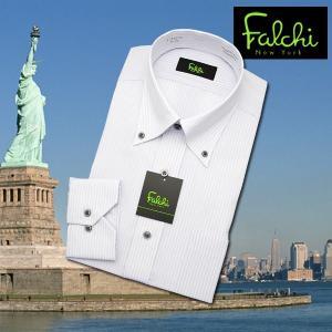【長袖】Falchi NewYork形態安定ワイシャツ スリムタイプ グレーストライプ  ボタンダウン|skyjack