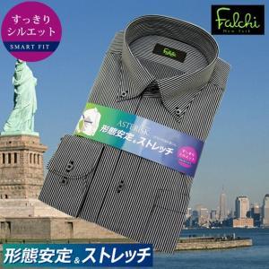 【長袖】Falchi NewYork形態安定ワイシャツ スリムタイプ グレーストライプ ストレッチ素材 ボタンダウン|skyjack