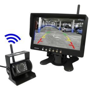 トラック・バス・重機対応 ワイヤレスバックカメラセット 12/24V 7インチ液晶モニター 無線タイプ ガイドライン有 OMT76SET|skynet