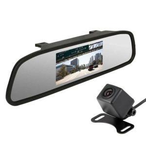 4.3インチ車載液晶ミラーモニター+バックカメラセット 大人気バックカメラA0119N搭載 12V専...