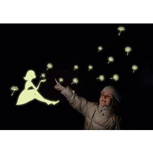 ウォールステッカー:夜に光るたんぽぽと天使 蓄光タイプ 簡単模様替え ゆうメール送料無料 Y0031|skynet