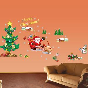 ウォールステッカー:サンタさんとクリスマスツリー ゆうメール...