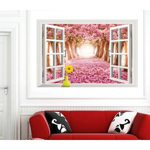 ウォールステッカー:桜並木 繰り返し利用可能 解放感のあるデザイン お部屋の模様替えに ゆうメール送料無料 春 AY9234D|skynet