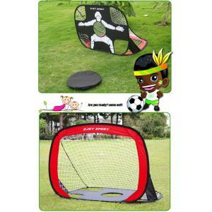 サッカーポップアップゴール フットサル 簡単設置 持ち運び可能 ひっくり返せばGKが出現 携帯バッグ...