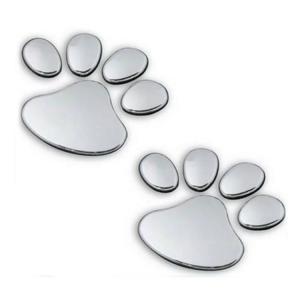 カーステッカー 車やバイク キズ隠し凹み隠しに  猫(犬) 足跡 可愛い 肉球ステッカー シール 立体ステッカー シルバー EBSET50|skynet