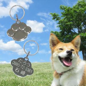 迷子札 小型犬にお勧め PAW  肉球型 ステンレスWリング付属