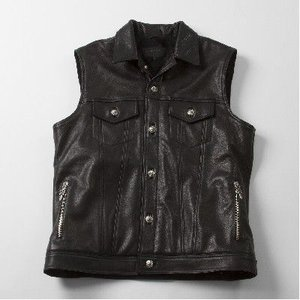 CHROME HEARTS MEN'S MOTORBREATH LEATHER VEST QUILTED CASHMERE クロムハーツ メンズ MOTORBREATH レザー ベスト キルト カシミア