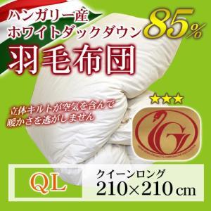 羽毛布団 立体キルト ニューゴールドラベル   クイーンロング 210×210cm ホワイトダックダウン85% ハンガリー産|sleeping-yshop