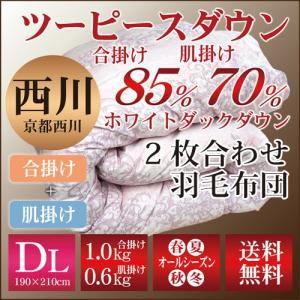 京都西川のツーピースダウン/2枚合わせ羽毛布団〔合掛WDD85%、肌掛WDD70%〕〔4G7801ST〕ダブルロング/洗える/ウォッシャブル|sleeping-yshop