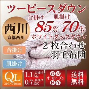 京都西川のツーピースダウン/2枚合わせ羽毛布団〔合掛WDD85%、肌掛WDD70%〕〔4G7801ST〕クイーンロング/洗える/ウォッシャブル|sleeping-yshop