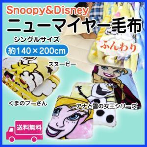 あったかニューマイヤー毛布 シングルサイズ プーさん・スヌーピー・アナと雪の女王  キャラクターブランケットの写真