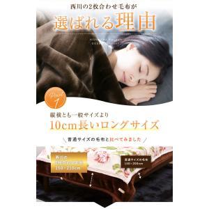 京都西川 2枚合わせ毛布(2NY5041) DR / 無地カラー シングル ロング 150×210cm|sleeping-yshop|03