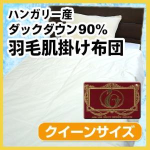 N 羽毛布団(夏用)羽毛肌掛け布団(ハンガリー産ホワイトダックダウン90%)クイーンロング|sleeping-yshop