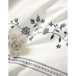 Fab the Home ソワレ フラワー刺繍 ダブルサイズ 190×210cm (日本製  綿100% フランス綾  ホワイト/ネイビー) 上品 北欧 ヨーロッパ調 大人可愛い sleepmaster 07
