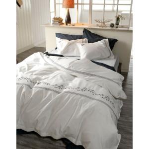 Fab the Home ソワレ フラワー刺繍 ダブルサイズ 190×210cm (日本製  綿100% フランス綾  ホワイト/ネイビー) 上品 北欧 ヨーロッパ調 大人可愛い sleepmaster 08