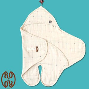 「FICELLE BOBO 6重ガーゼ足つきアフガン(留め具ボタンつき)」|sleepy