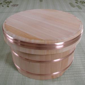 江戸びつ(サワラ) 直径21cm 容量5合 天然木 0617-1302 slow-dougu-net