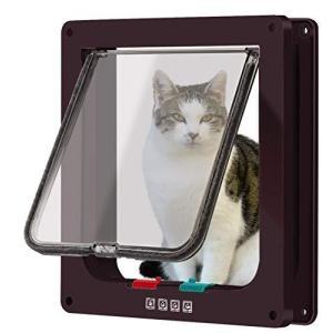 CEESC 4WAY ペットドア 小型 犬 猫 ペット出入り口 ドア 勝手口 扉 冷暖房対策 日本語取扱説明書付き (ブラウン, ?|slow-lifes
