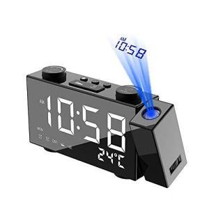 TTAototech デジタル時計 LED 投影 時計 卓上時計 四段輝度調節 目覚まし時計 天井投影 [2020最新版] 置き時計 FMラジ|slow-lifes